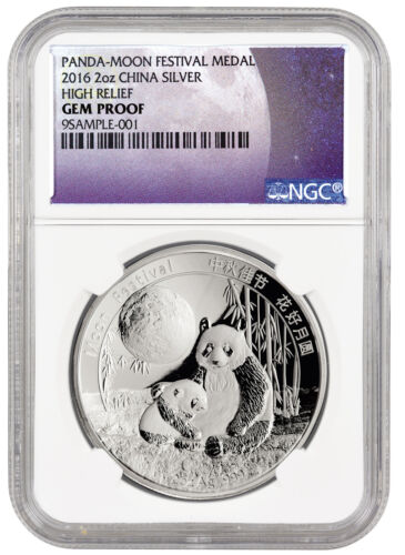 2016 2 oz High Relief Silver Panda Moon Festival Medal NGC GEM Proof SKU43059