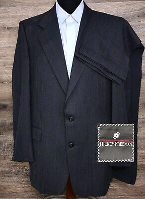Hickey Freeman Boardroom Collection Men's Blue Striped Designer Suit 44L 37X32