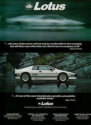 1985 1986 Lotus Turbo Esprit White Fast Original Car Vintage Poster Print Ad