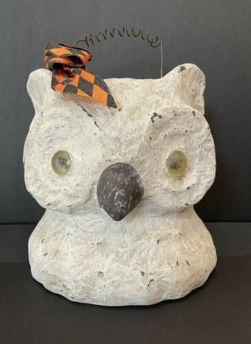"""Large Paper Mache 7""""+ White OWL Jack-O-Lantern Halloween Candy Container Bucket"""