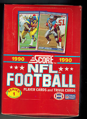 1990 Score Football Card - 1990 SCORE SERIES 1 UNOPENED BOX  36 PACKS FOOTBALL CARDS  FROM CASE