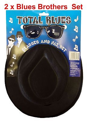 2 x Blues Brothers Set Hut und Brille Gr.59/60