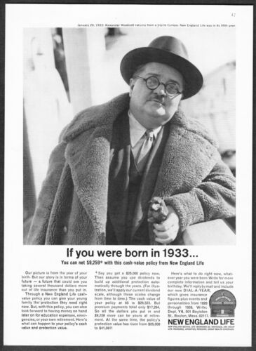1933 Alexander Woolcott New Yorker Drama Critic photo 1963 NE Life print ad