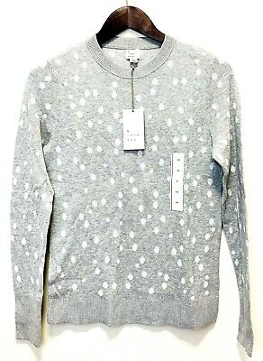 A New Day Womens XS Sweater Casual Crew Neck Lightweight Polka Dots Light Gray Casual Crew Neck Design