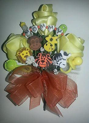 Baby shower MOMMY monkey giraffe zebra lion tiger corsage jungle theme  - Monkey Baby Shower Theme
