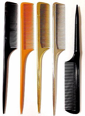 *3pc* Professional Barber Salon Styling Black Gold Silver Back Bone Tail Comb