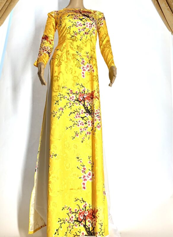 Vietnamese Ao Dai Gam Long Dress With Pants - Free Priority Shipping
