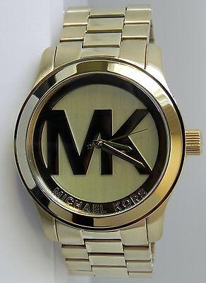 Michael Kors Women's large MK5473 Runway Gold tone with Mk logo Dial 45 mm