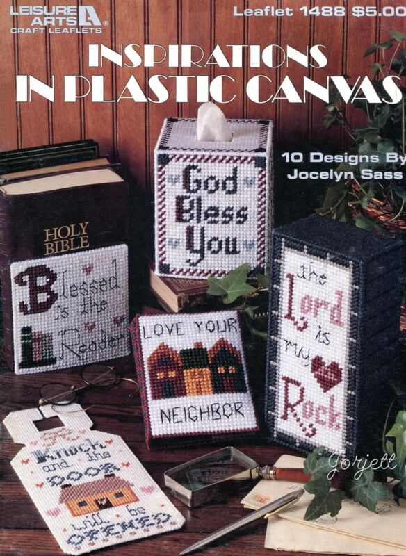 Inspirations, Sampler Bookends Tissue &More plastic canvas pattern book NEW rare