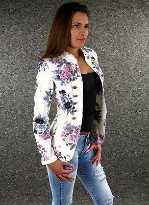 ZAZOU Sommer Blazer S M L XL XXL Sommerjacke Flowers Jacket Damen Jacke Z-01