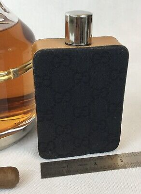 VINTAGE 60s GUCCI LEATHER / CANVAS MONOGRAMED GLASS FLASK RARE COLLECTIBLE