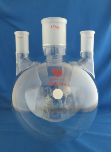 Labglass 3000mL 3 Neck Roundbottom Flask 45/50 & 24/40