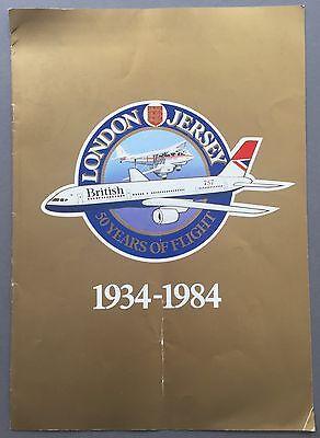 BRITISH AIRWAYS LONDON - JERSEY 50 YEARS VINTAGE BROCHURE 1934-1984 BA RAPIDE