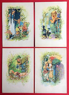 4 x Künstler AK MÄRCHEN um 1947 Schneewittchen, Der gestiefelte Kater  ( 11854