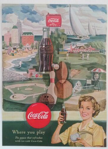 CocaCola Vintage Baseball 1952 Barnum & Baily Circus Program Magazine Print Ad