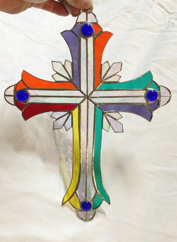 LARGE MULTI COLORED 14 INCH STAINED GLASS CRUCIFIX !! Stunning!      HANDMADE !