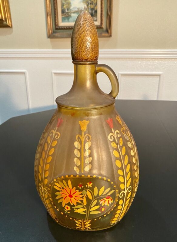 Large Antique Hand Painted Amber Glass German Pitcher
