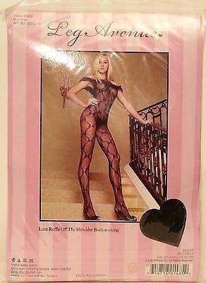 Lace Ruffle Bodystocking - Leg Avenue Bodystocking Lace Ruffle Off Shoulder Black One Size New