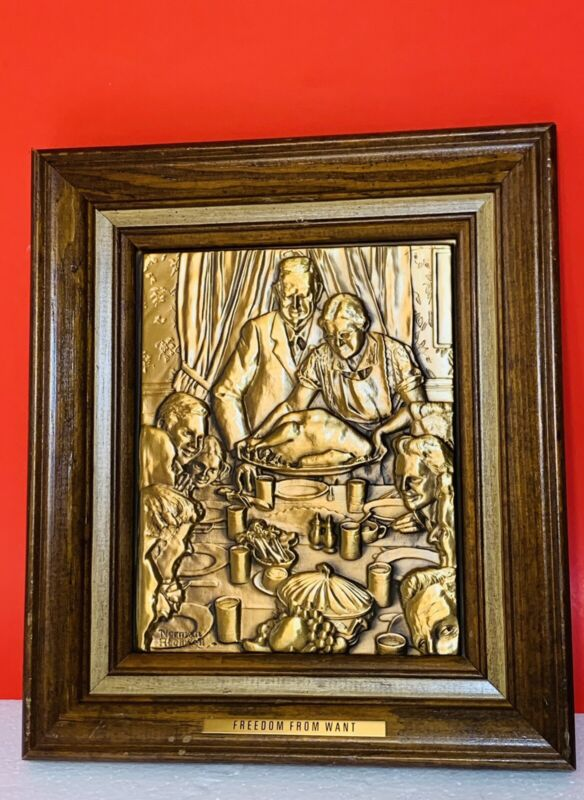 """Vintage Norman Rockwell Solid Bronze Framed """"Freedom From Want"""" Plaque"""