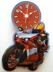 CHILDRENS MOTORBIKE CLOCK HAND MADE WOODEN CLOCK NURSERY WALL CLOCK RACER