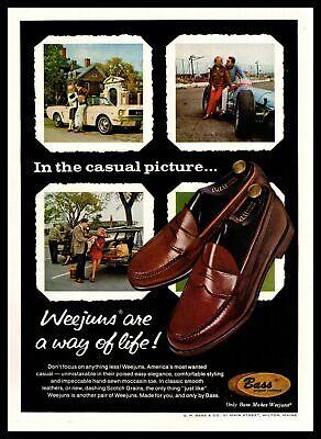 1965 Bass Outdoor Footwear Weejuns SlipOn Moc Toe Penny Loafers Vintage Print Ad