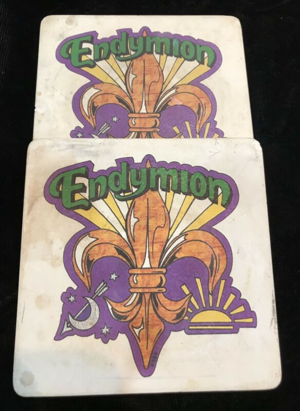 Endymion Coasters. Two (2) in Colorful Design New Orleans Mardi Gras Krewe Favor