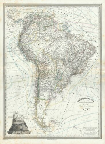 1860 Dufour Map of South America