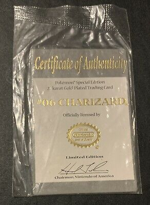 1999 Pokemon Special Edition 23K Gold #06 Charizard Certificate of Authenticity