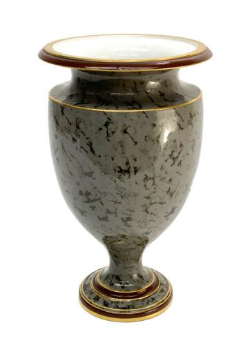 Manufacture de Sevres Faux Grey Marble Porcelain Footed Vase, 1886