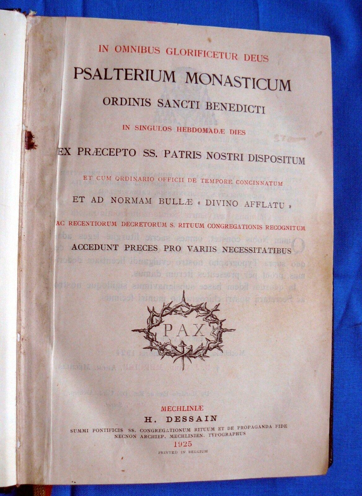 PSALTERIUM MONASTICUM 1925 Liturgy Benediktiner OSB H. Dessain ~HOLY BOOKS~