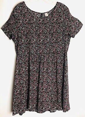 Divided H&M Black Floral print Short Sleeve Skater Dress Size 12
