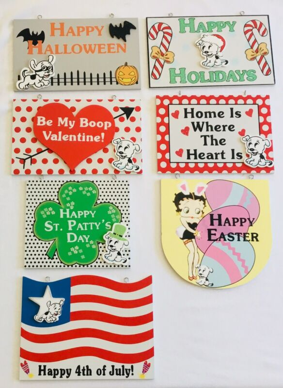 """BETTY BOOP RARE! Lot-7 9""""x5"""" Wall Signs/Plaques Holiday Double Hook Wood CUTE!"""