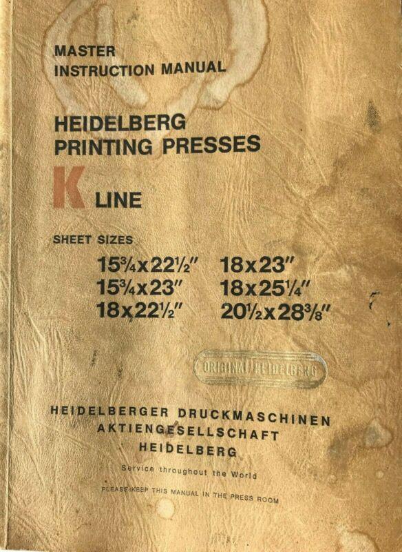 Original Heidelberg Master Instruction Manual K-Line Presses