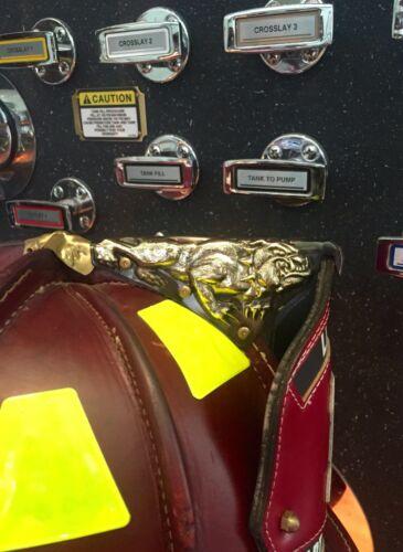 Brass Bulldog fire helmet finial