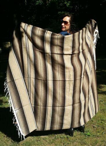 "Mexican Serape Sarape Fringed Blanket Bedspread 84"" x 60"" Tan & Brown"