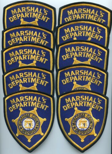 MUSCOGEE COUNTY GEORGIA Trade Stock 10 Police Patches MARSHAL police PATCH