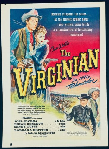 The Virginian 1946 Starring Joel McCrea and Brian Donlevy Film Ad