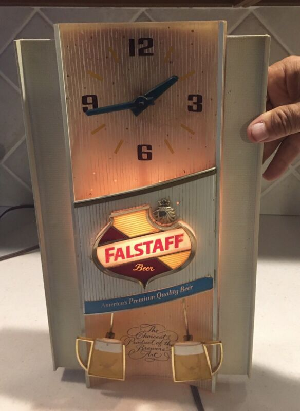 Vintage Falstaff Toasting Beer Mugs Bar Advertising Sign Light Clock