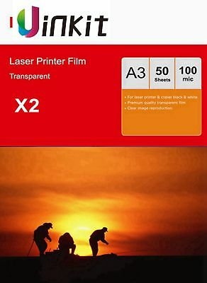 OHP Film A3 Overhead Project Clear for Laser Printer 420x297 Uinkit - 100 Sheets