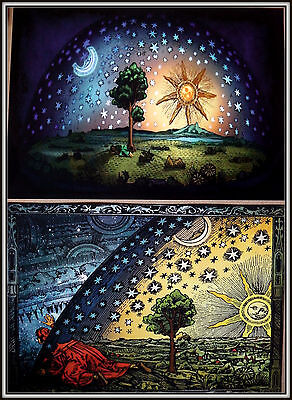2 Flat Earth Prints  - Firmament Dome Art + Flammarion Engraving 1888 (a3 size).