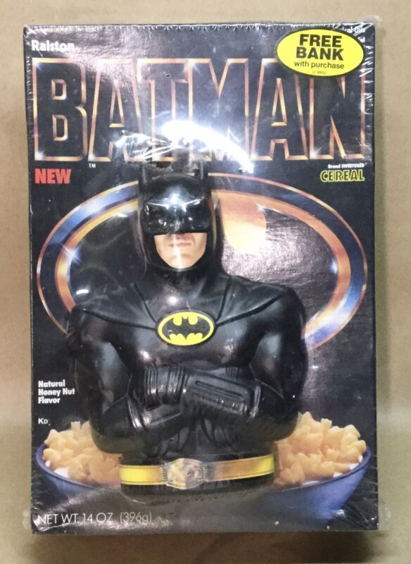 Vintage  1989 Ralston BATMAN Cereal Sealed Box Coin Bank Toy Unopened