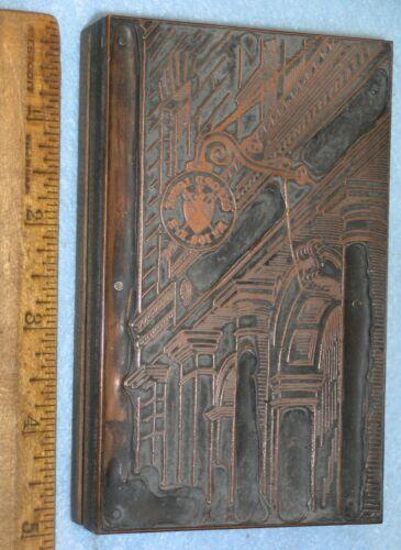 Antique OXFORD MI Knights Pythias Lodge Sign Copper Printing Block * Lilley G163