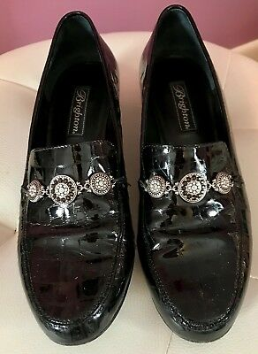 (Brighton Black Patent Leather Croc $170 Erica Size 8.5M 8 1/2 Loafer Shoes Flat)