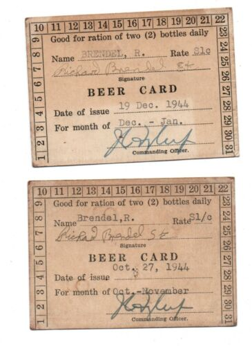 (2 )  WW2 World War Two BEER CHIT : Ration Cards 1944 Unpunched