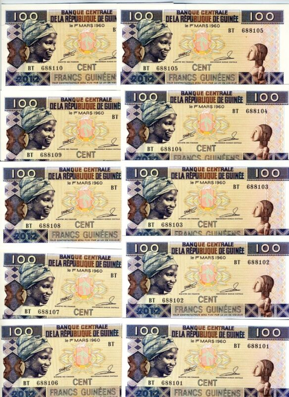 LOT, Guinea, 10 x 100 Francs, 2012, P-New, UNC > colorful