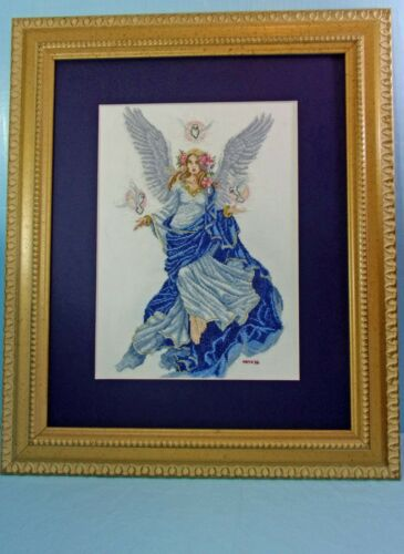 COMPLETED FINISHED COUNTED CROSS STITCH LAVENDER & LACE ANGEL FRAMED