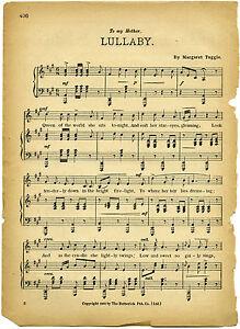 framed print vintage music paper lullaby picture. Black Bedroom Furniture Sets. Home Design Ideas