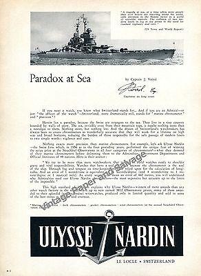 1957 Ulysse Nardin Marine Chronometer Watch Advert Paradox at Sea Swiss Print Ad