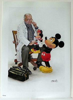 WALT DISNEY DISNEYLAND MICKEY & MINNIE VISIT THE DOCTOR COLOR ART PRINT!!