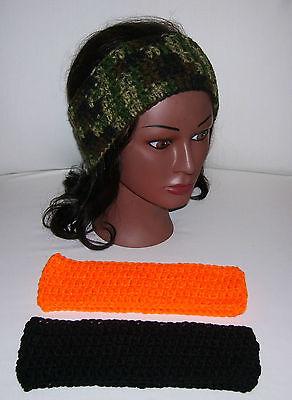 Lot Of 3 Crochet Ear Warmer/headbands--camouflage,orange, And Black